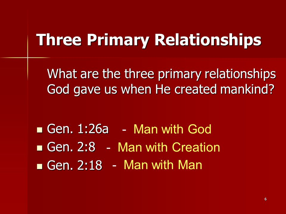 6 Three Primary Relationships What are the three primary relationships God gave us when He created mankind? Gen. 1:26a Gen. 1:26a Gen. 2:8 Gen. 2:8 Ge