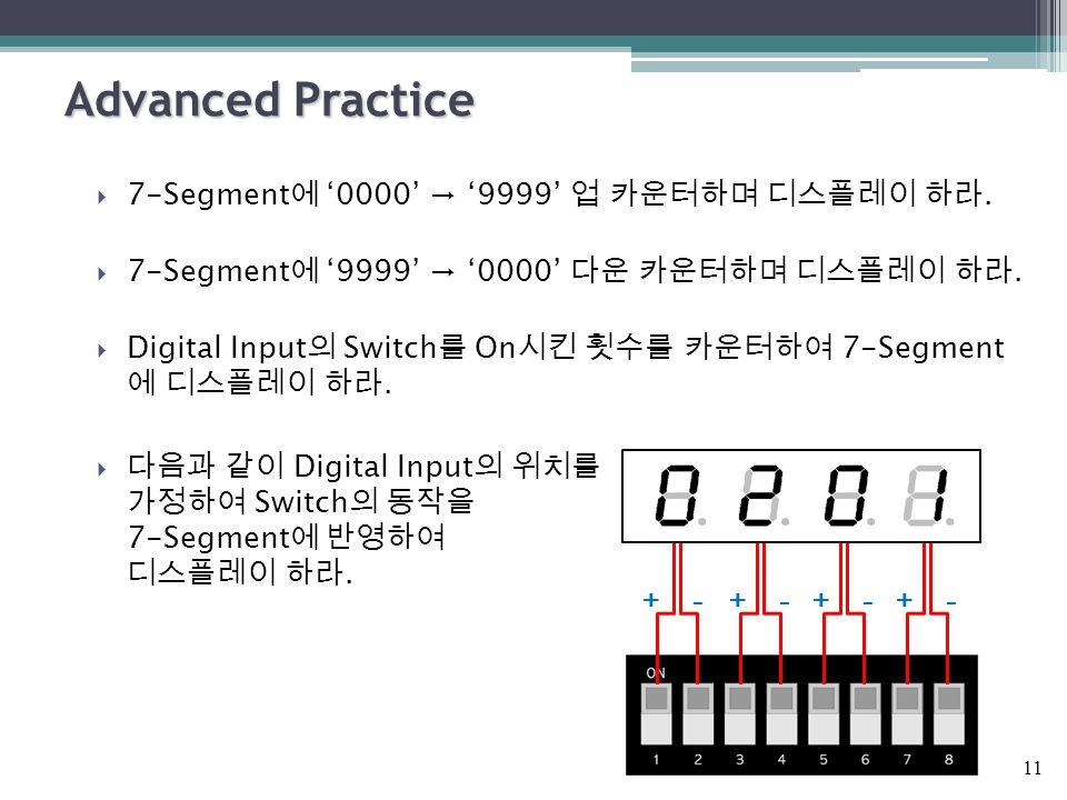Advanced Practice  7-Segment 에 '0000' → '9999' 업 카운터하며 디스플레이 하라.  7-Segment 에 '9999' → '0000' 다운 카운터하며 디스플레이 하라.  Digital Input 의 Switch 를 On 시킨 횟수