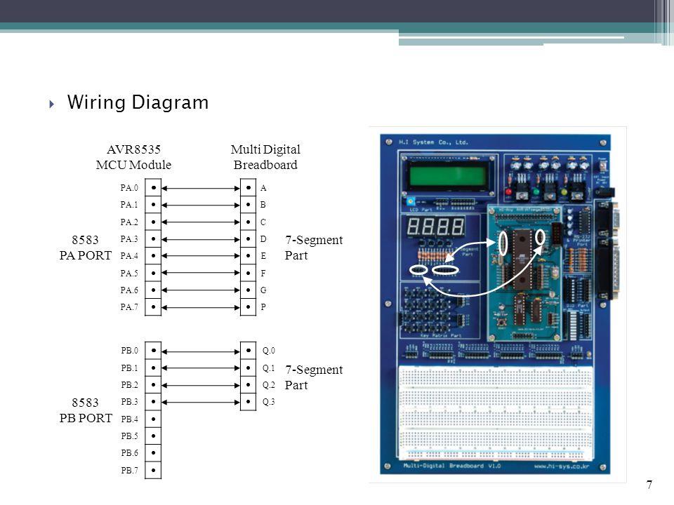 7  Wiring Diagram AVR8535 MCU Module Multi Digital Breadboard PA.0 ● PA.1 ● PA.2 ● PA.3 ● PA.4 ● PA.5 ● PA.6 ● PA.7 ● ● Q.0 ● Q.1 ● Q.2 ● Q.3 ● A ● B
