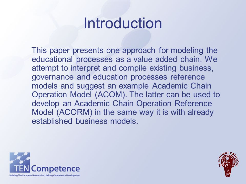 Decomposition the processes into groups Following the APQC research on process (APQC 2006) we can decompose the educational processes into following groups: Category Process Group Process Activity