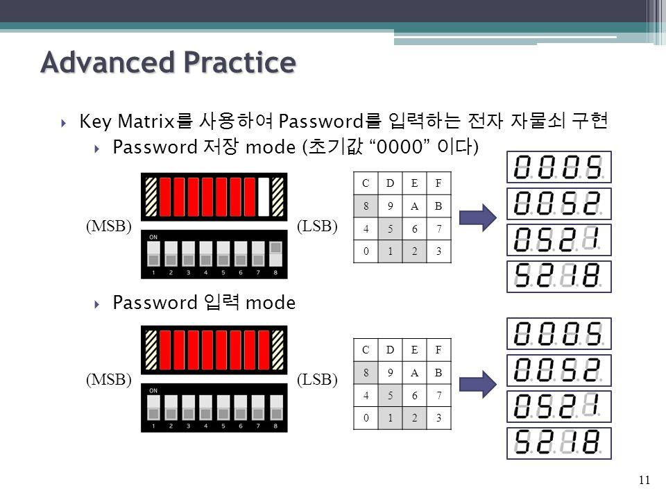 Advanced Practice  Key Matrix 를 사용하여 Password 를 입력하는 전자 자물쇠 구현  Password 저장 mode ( 초기값 0000 이다 )  Password 입력 mode 11 (MSB)(LSB) (MSB)(LSB) CDEF 89AB 4567 0123 CDEF 89AB 4567 0123