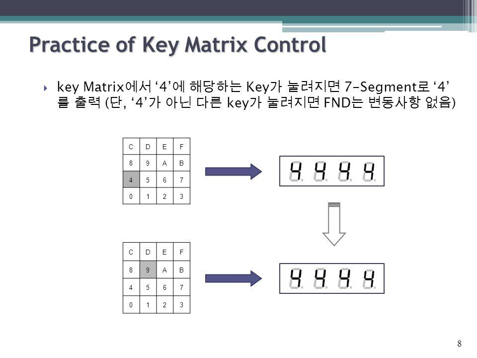 Practice of Key Matrix Control  key Matrix 에서 '4' 에 해당하는 Key 가 눌려지면 7-Segment 로 '4' 를 출력 ( 단, '4' 가 아닌 다른 key 가 눌려지면 FND 는 변동사항 없음 ) 8 CDEF 89AB 4567 0123 CDEF 89AB 4567 0123