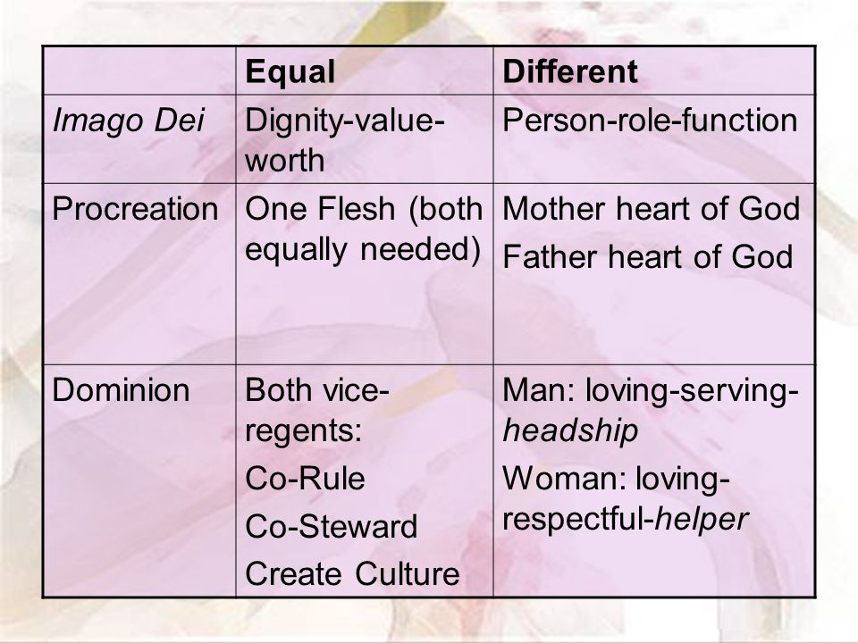 EqualDifferent Imago DeiDignity-value- worth Person-role-function ProcreationOne Flesh (both equally needed) Mother heart of God Father heart of God DominionBoth vice- regents: Co-Rule Co-Steward Create Culture Man: loving-serving- headship Woman: loving- respectful-helper
