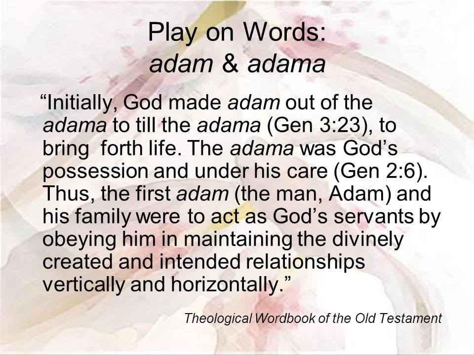 Play on Words: adam & adama Initially, God made adam out of the adama to till the adama (Gen 3:23), to bring forth life.