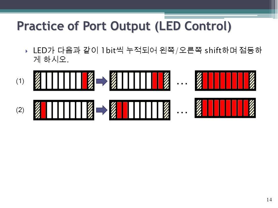Practice of Port Output (LED Control)  LED 가 다음과 같이 1bit 씩 누적되어 왼쪽 / 오른쪽 shift 하며 점등하 게 하시오. … (1) (2) … 14
