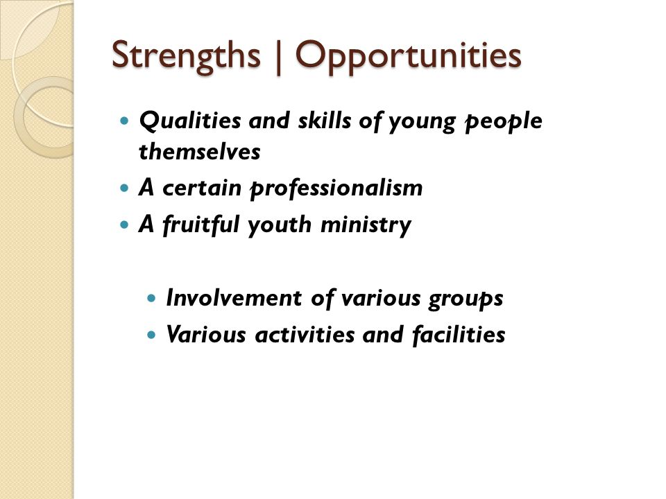 Strengths | Opportunities Qualities and skills of young people themselves A certain professionalism A fruitful youth ministry Involvement of various g