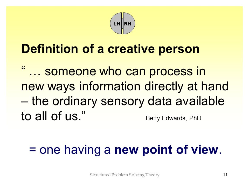 Structured Problem Solving Theory11 Definition of a creative person … someone who can process in new ways information directly at hand – the ordinary sensory data available to all of us. Betty Edwards, PhD = one having a new point of view.