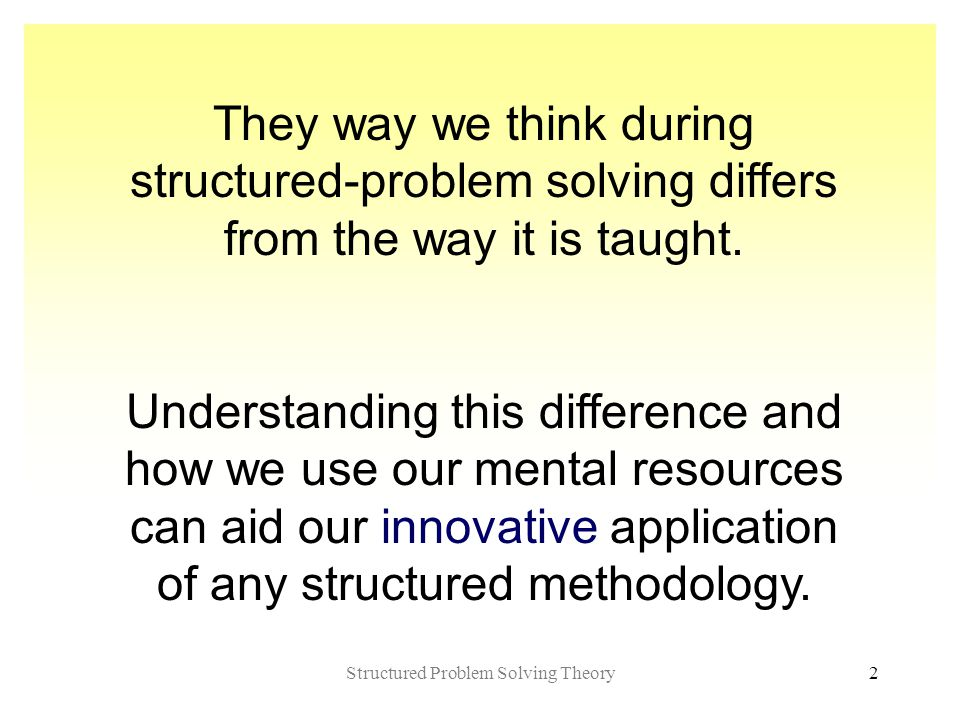 Structured Problem Solving Theory2 They way we think during structured-problem solving differs from the way it is taught.