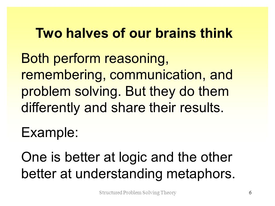 Structured Problem Solving Theory6 Two halves of our brains think Both perform reasoning, remembering, communication, and problem solving.