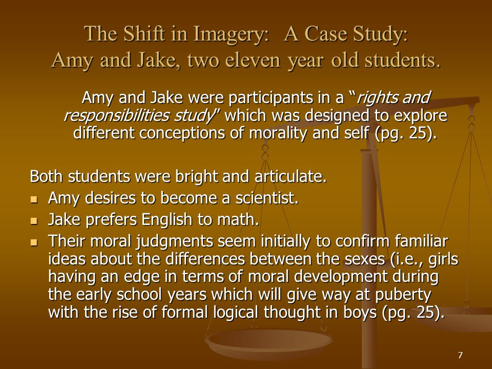 8 The Shift in Imagery: A Case Study: Amy and Jake, two eleven year old students.