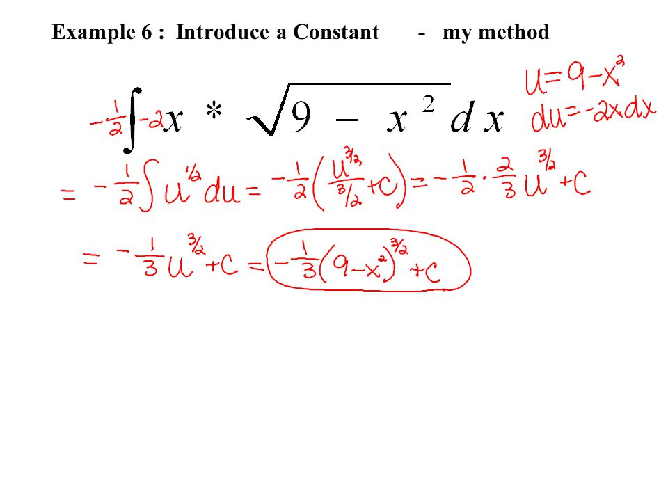 Example 6 : Introduce a Constant - my method