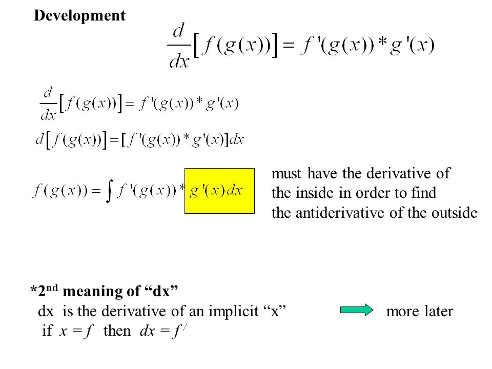 """Development must have the derivative of the inside in order to find the antiderivative of the outside *2 nd meaning of """"dx"""" dx is the derivative of an"""