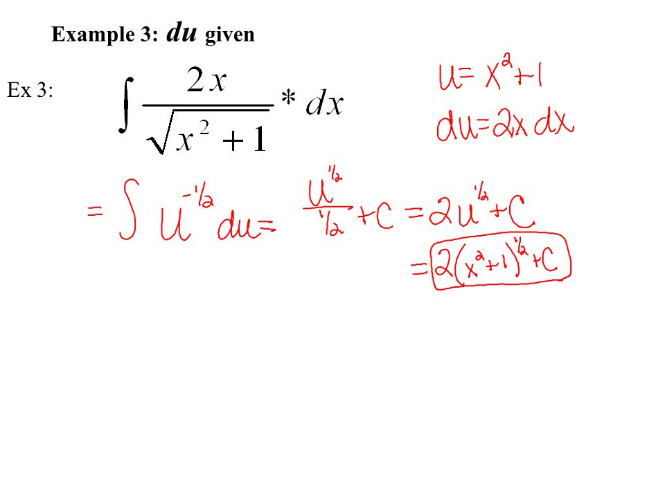 Example 4: du given Ex 4: