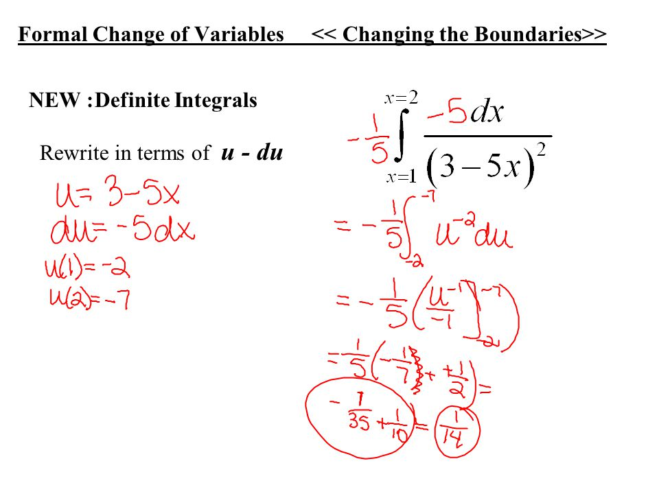 EX: Change of Variables ln