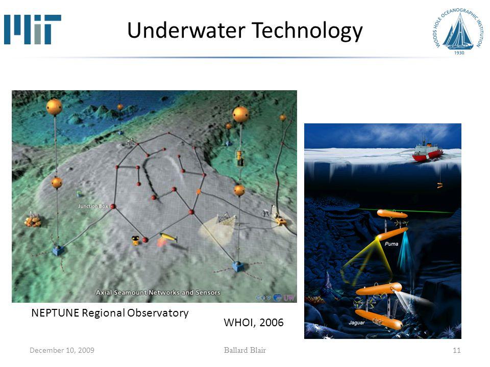 December 10, 2009 Ballard Blair 11 Underwater Technology WHOI, 2006 NEPTUNE Regional Observatory