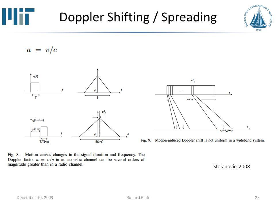 Doppler Shifting / Spreading December 10, 200923Ballard Blair Stojanovic, 2008