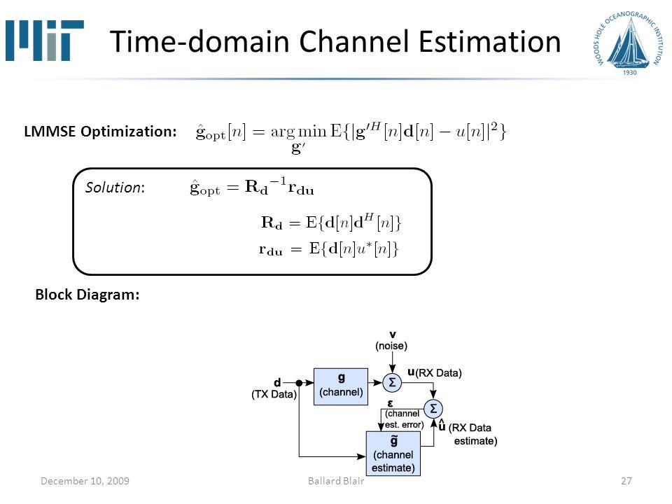 Time-domain Channel Estimation December 10, 200927 LMMSE Optimization: Solution: Block Diagram: Ballard Blair