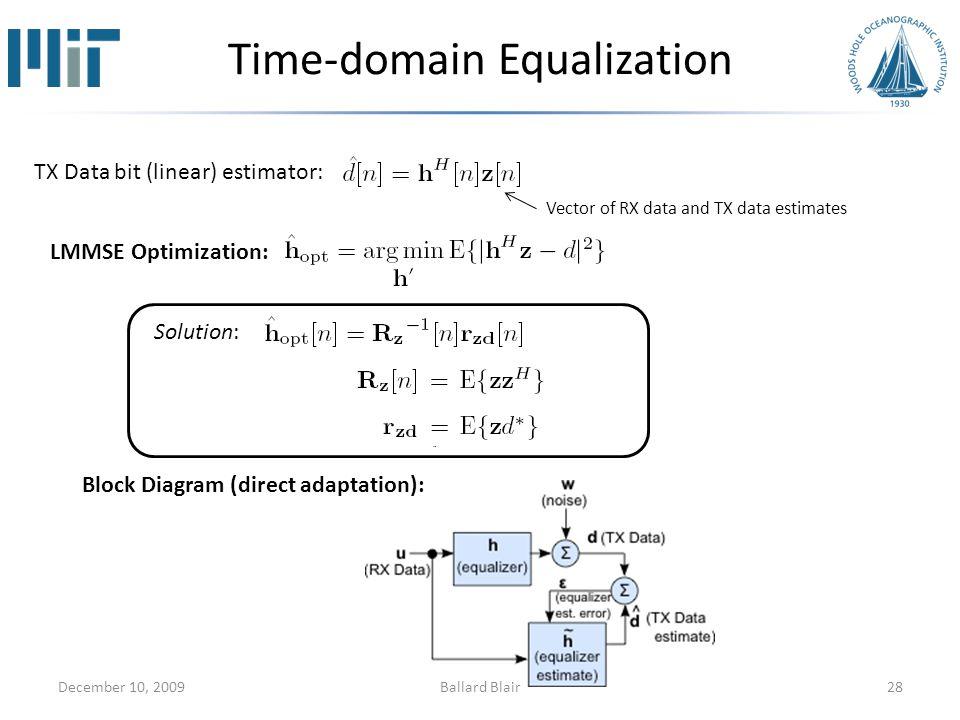 Time-domain Equalization December 10, 200928 TX Data bit (linear) estimator: LMMSE Optimization: Solution: Block Diagram (direct adaptation): Vector of RX data and TX data estimates Ballard Blair