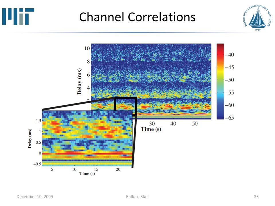 Channel Correlations December 10, 200938Ballard Blair