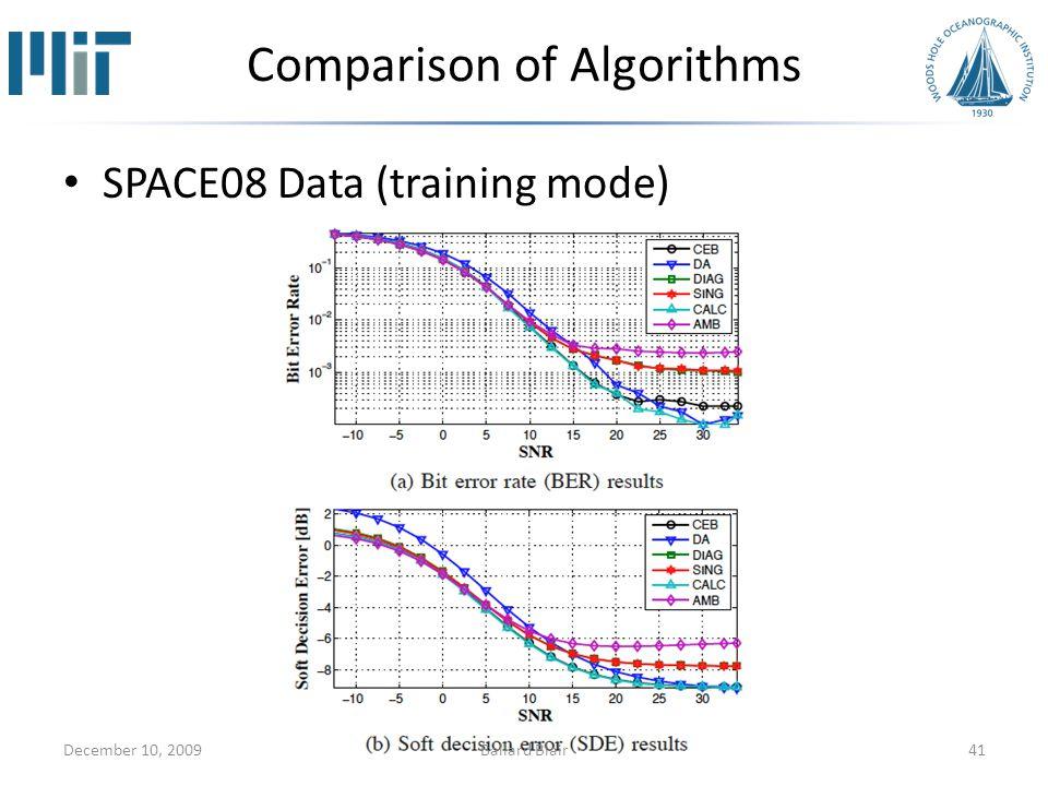 Comparison of Algorithms SPACE08 Data (training mode) December 10, 200941Ballard Blair