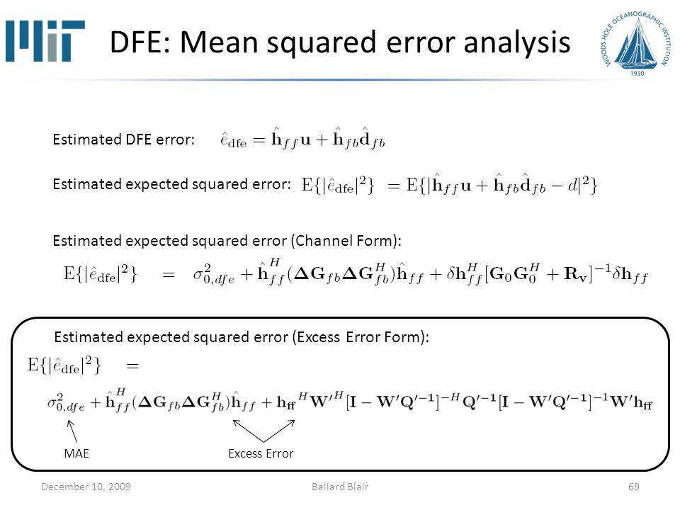 DFE: Mean squared error analysis December 10, 200969 Estimated DFE error: Estimated expected squared error: Estimated expected squared error (Channel Form): Estimated expected squared error (Excess Error Form): MAEExcess Error Ballard Blair