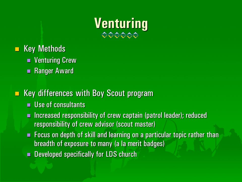 Venturing Key Methods Key Methods Venturing Crew Venturing Crew Ranger Award Ranger Award Key differences with Boy Scout program Key differences with