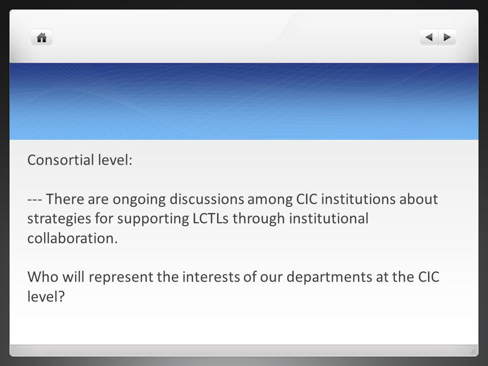 Consortial level: --- There are ongoing discussions among CIC institutions about strategies for supporting LCTLs through institutional collaboration.
