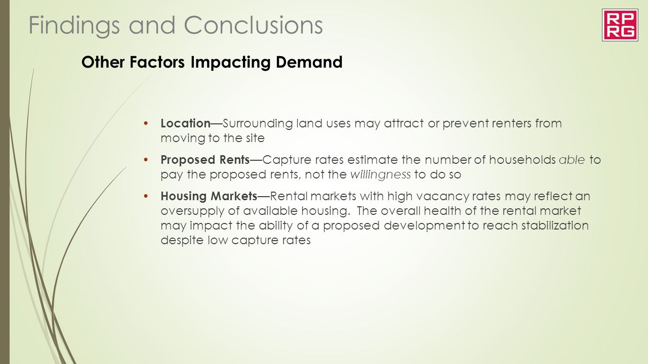 Other Factors Impacting Demand Location —Surrounding land uses may attract or prevent renters from moving to the site Proposed Rents —Capture rates es