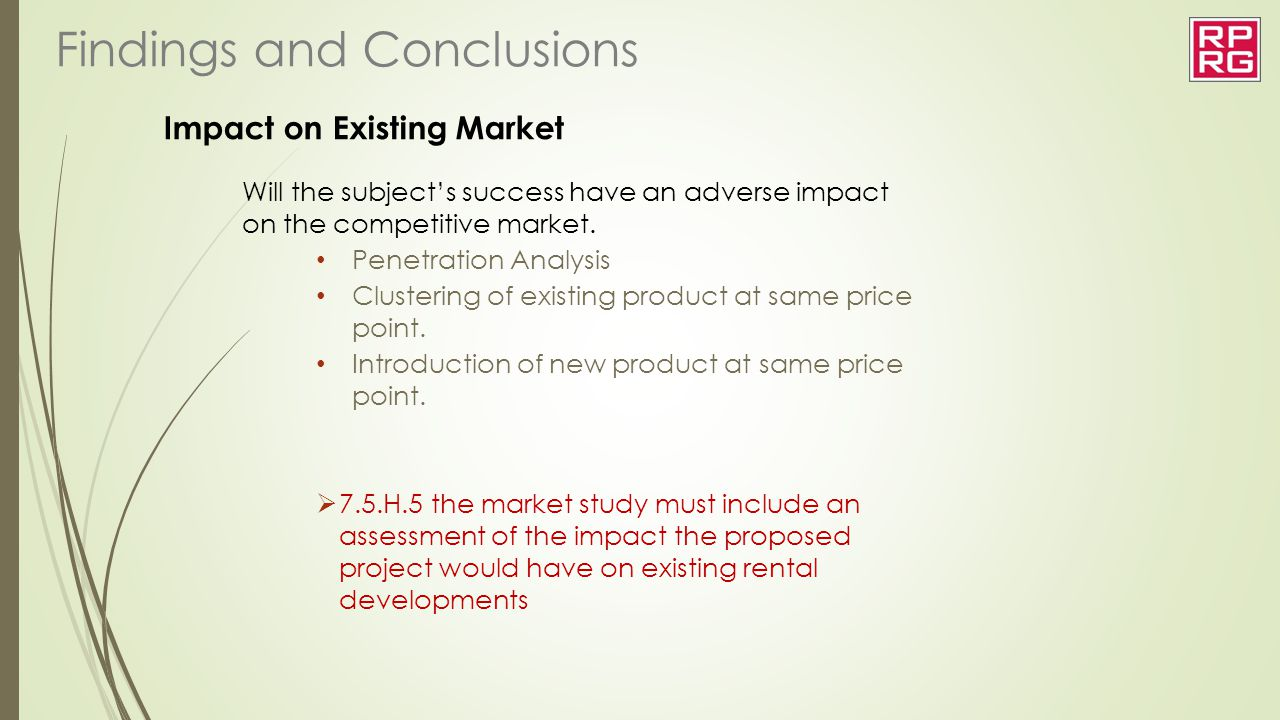 Impact on Existing Market Will the subject's success have an adverse impact on the competitive market. Penetration Analysis Clustering of existing pro