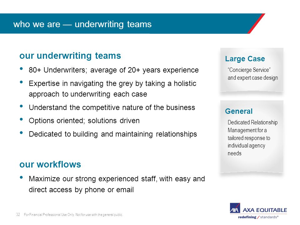 Click to edit master text style our underwriting teams 80+ Underwriters; average of 20+ years experience Expertise in navigating the grey by taking a holistic approach to underwriting each case Understand the competitive nature of the business Options oriented; solutions driven Dedicated to building and maintaining relationships our workflows Maximize our strong experienced staff, with easy and direct access by phone or email For Financial Professional Use Only.
