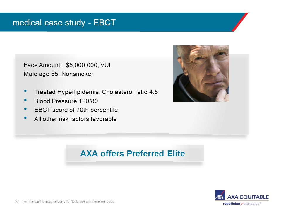 click to edit master lead-in head Face Amount: $5,000,000, VUL Male age 65, Nonsmoker Treated Hyperlipidemia, Cholesterol ratio 4.5 Blood Pressure 120/80 EBCT score of 70th percentile All other risk factors favorable medical case study - EBCT For Financial Professional Use Only.
