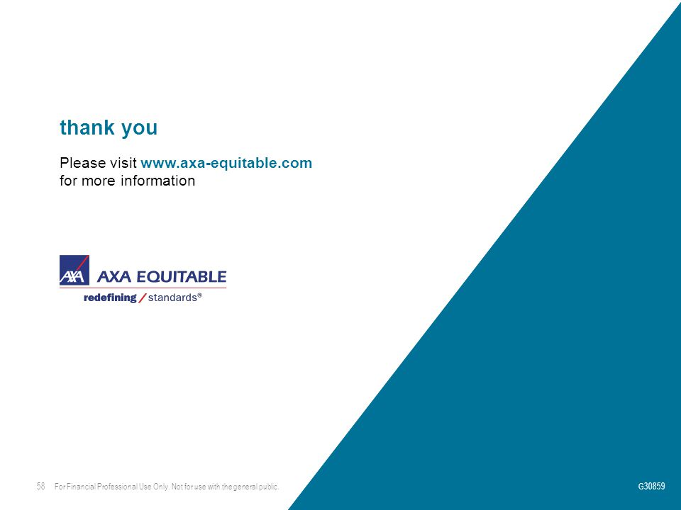 thank you Please visit www.axa-equitable.com for more information 58G30859 For Financial Professional Use Only.