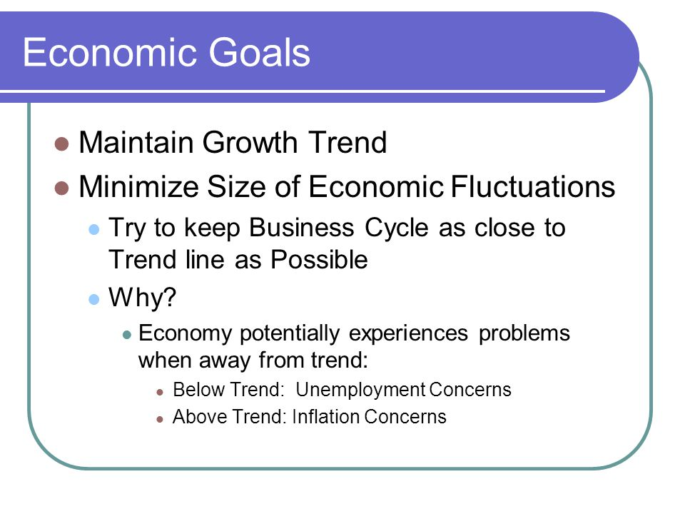 Economic Goals Maintain Growth Trend Minimize Size of Economic Fluctuations Try to keep Business Cycle as close to Trend line as Possible Why.