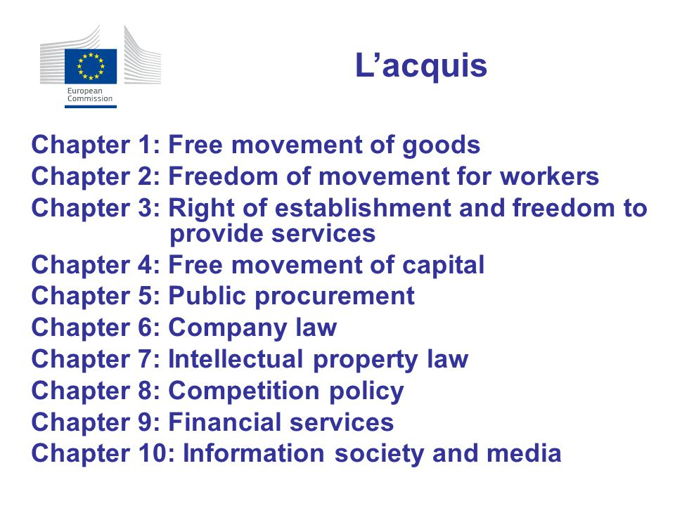 Chapter 1: Free movement of goods Chapter 2: Freedom of movement for workers Chapter 3: Right of establishment and freedom to provide services Chapter