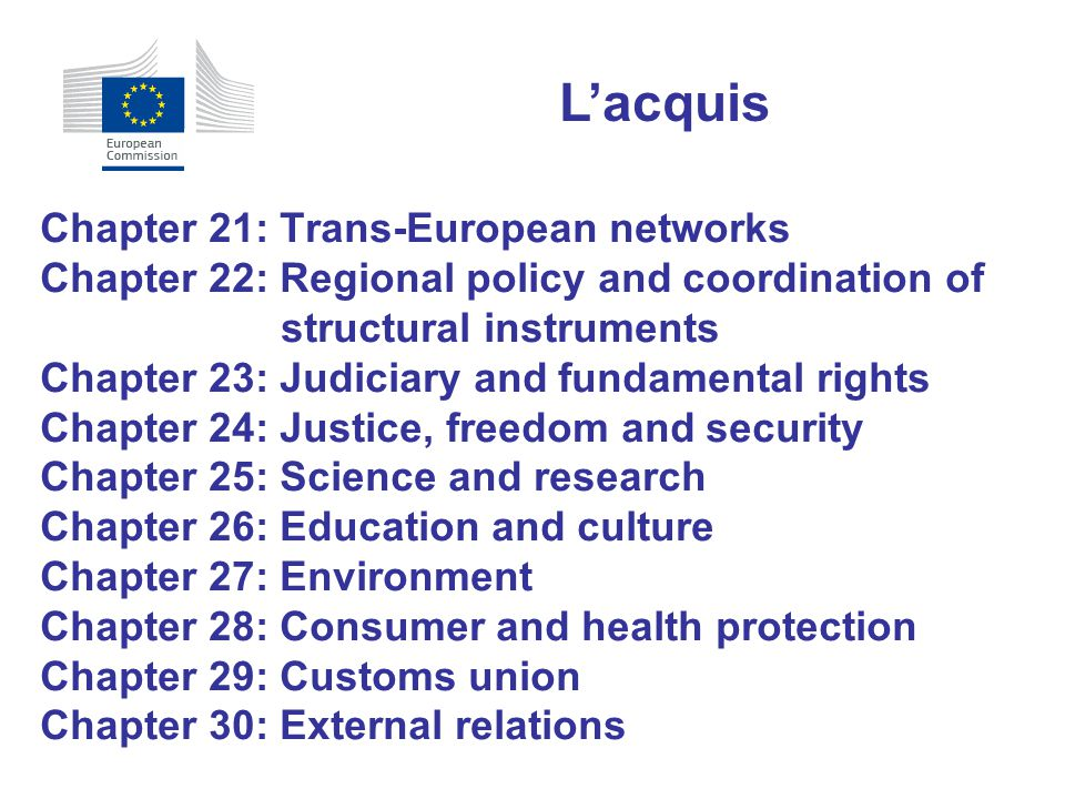 Chapter 21: Trans-European networks Chapter 22: Regional policy and coordination of structural instruments Chapter 23: Judiciary and fundamental right