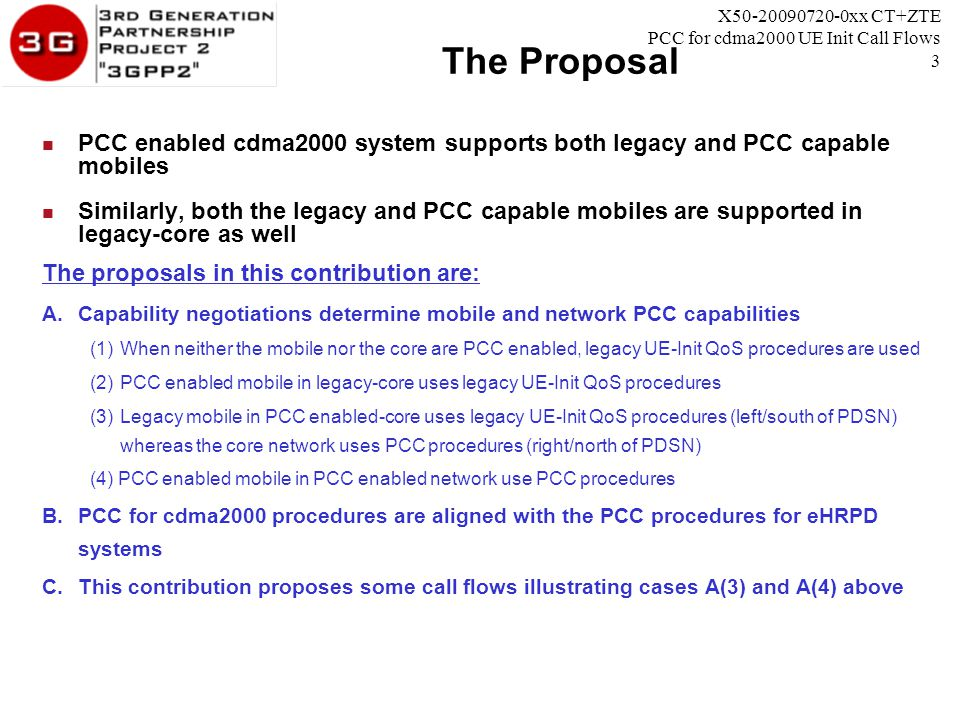 X50-20090720-0xx CT+ZTE PCC for cdma2000 UE Init Call Flows 3 The Proposal PCC enabled cdma2000 system supports both legacy and PCC capable mobiles Similarly, both the legacy and PCC capable mobiles are supported in legacy-core as well The proposals in this contribution are: A.Capability negotiations determine mobile and network PCC capabilities (1)When neither the mobile nor the core are PCC enabled, legacy UE-Init QoS procedures are used (2)PCC enabled mobile in legacy-core uses legacy UE-Init QoS procedures (3)Legacy mobile in PCC enabled-core uses legacy UE-Init QoS procedures (left/south of PDSN) whereas the core network uses PCC procedures (right/north of PDSN) (4) PCC enabled mobile in PCC enabled network use PCC procedures B.PCC for cdma2000 procedures are aligned with the PCC procedures for eHRPD systems C.This contribution proposes some call flows illustrating cases A(3) and A(4) above