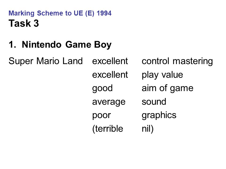 1.Nintendo Game Boy Super Mario Landexcellent good average poor (terrible control mastering play value aim of game sound graphics nil) Marking Scheme to UE (E) 1994 Task 3