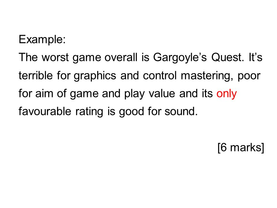 Example: The worst game overall is Gargoyle's Quest.