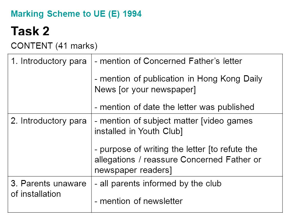 Marking Scheme to UE (E) 1994 Task 2 CONTENT (41 marks) 1. Introductory para- mention of Concerned Father's letter - mention of publication in Hong Ko