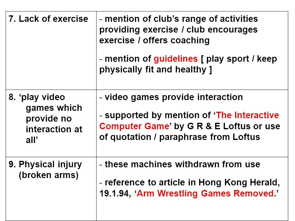 7. Lack of exercise- mention of club's range of activities providing exercise / club encourages exercise / offers coaching - mention of guidelines [ p
