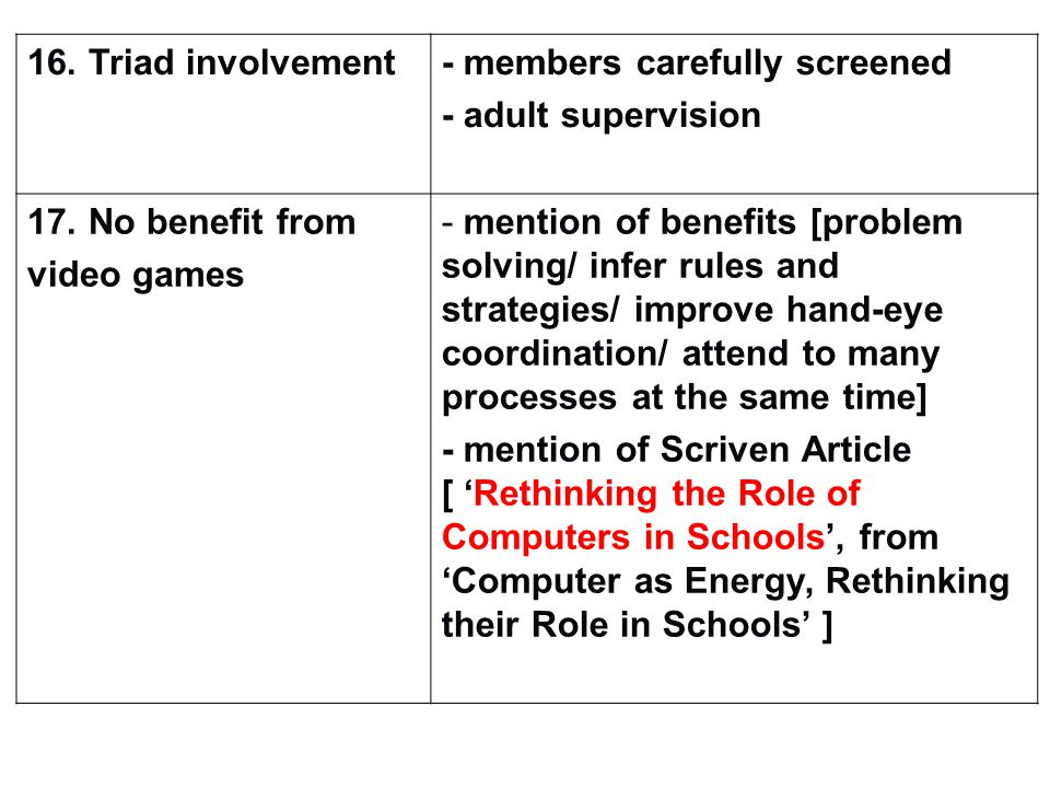 16. Triad involvement- members carefully screened - adult supervision 17.