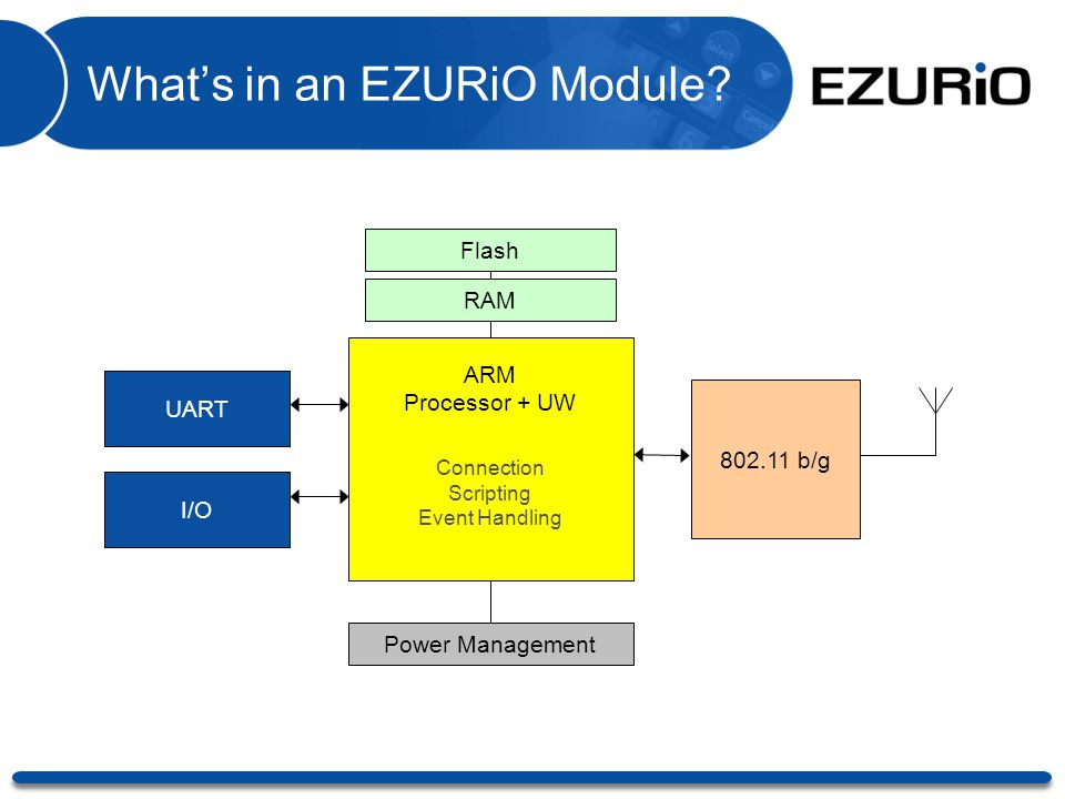 What's in an EZURiO Module? RAM ARM Processor + UW UART Power Management 802.11 b/g Flash I/O Connection Scripting Event Handling