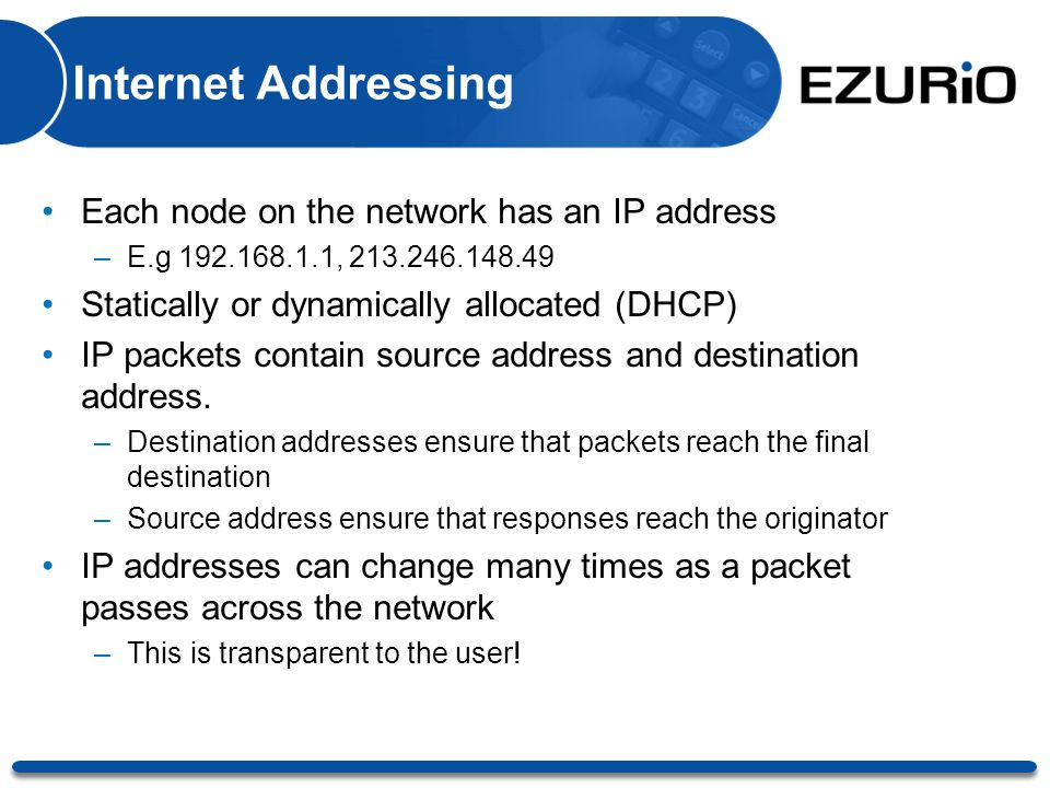 Internet Addressing Each node on the network has an IP address –E.g 192.168.1.1, 213.246.148.49 Statically or dynamically allocated (DHCP) IP packets