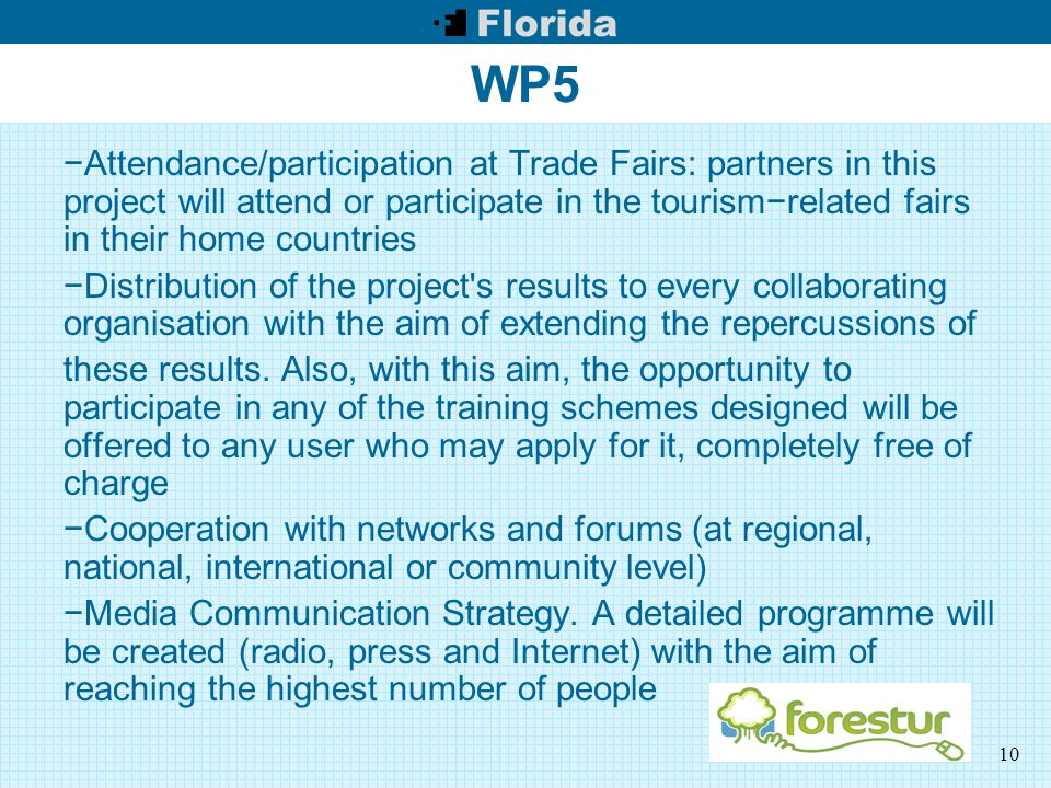 10 WP5 −Attendance/participation at Trade Fairs: partners in this project will attend or participate in the tourism−related fairs in their home countries −Distribution of the project s results to every collaborating organisation with the aim of extending the repercussions of these results.
