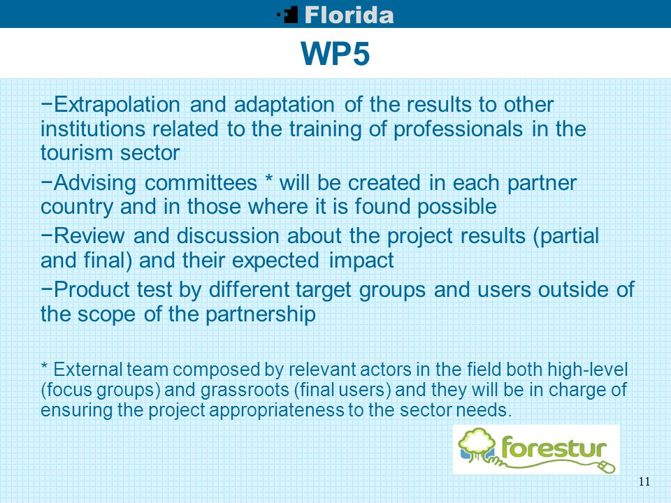 11 WP5 −Extrapolation and adaptation of the results to other institutions related to the training of professionals in the tourism sector −Advising committees * will be created in each partner country and in those where it is found possible −Review and discussion about the project results (partial and final) and their expected impact −Product test by different target groups and users outside of the scope of the partnership * External team composed by relevant actors in the field both high-level (focus groups) and grassroots (final users) and they will be in charge of ensuring the project appropriateness to the sector needs.