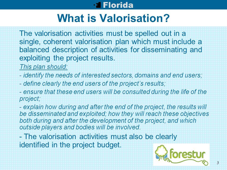 3 What is Valorisation? The valorisation activities must be spelled out in a single, coherent valorisation plan which must include a balanced descript