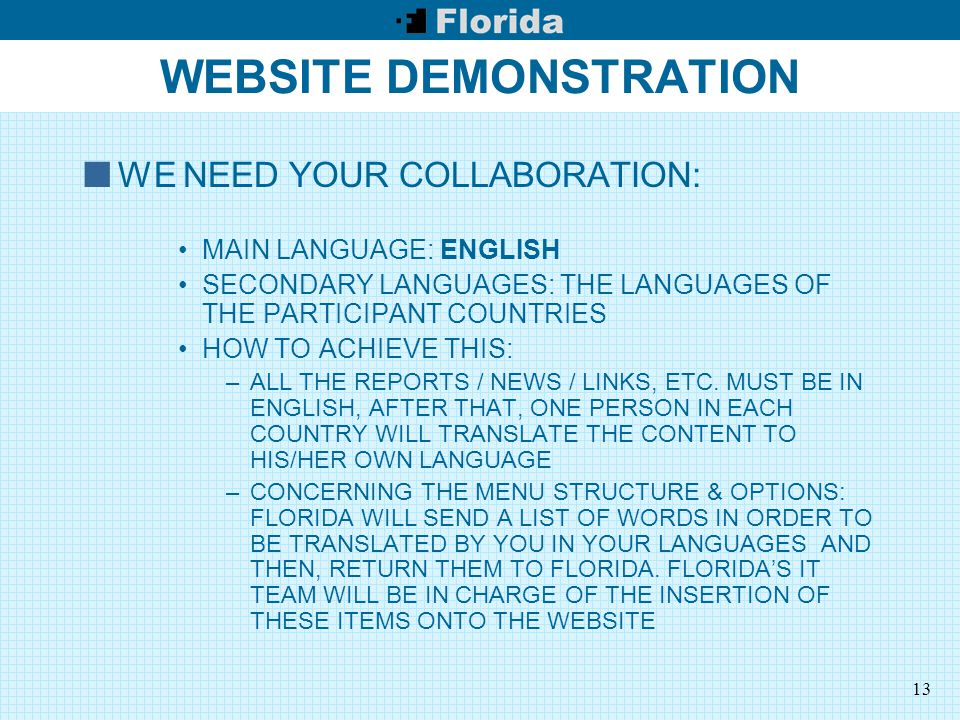 13 WEBSITE DEMONSTRATION WE NEED YOUR COLLABORATION: MAIN LANGUAGE: ENGLISH SECONDARY LANGUAGES: THE LANGUAGES OF THE PARTICIPANT COUNTRIES HOW TO ACHIEVE THIS: –ALL THE REPORTS / NEWS / LINKS, ETC.