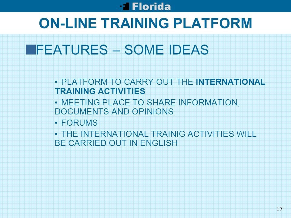 15 ON-LINE TRAINING PLATFORM FEATURES – SOME IDEAS PLATFORM TO CARRY OUT THE INTERNATIONAL TRAINING ACTIVITIES MEETING PLACE TO SHARE INFORMATION, DOCUMENTS AND OPINIONS FORUMS THE INTERNATIONAL TRAINIG ACTIVITIES WILL BE CARRIED OUT IN ENGLISH