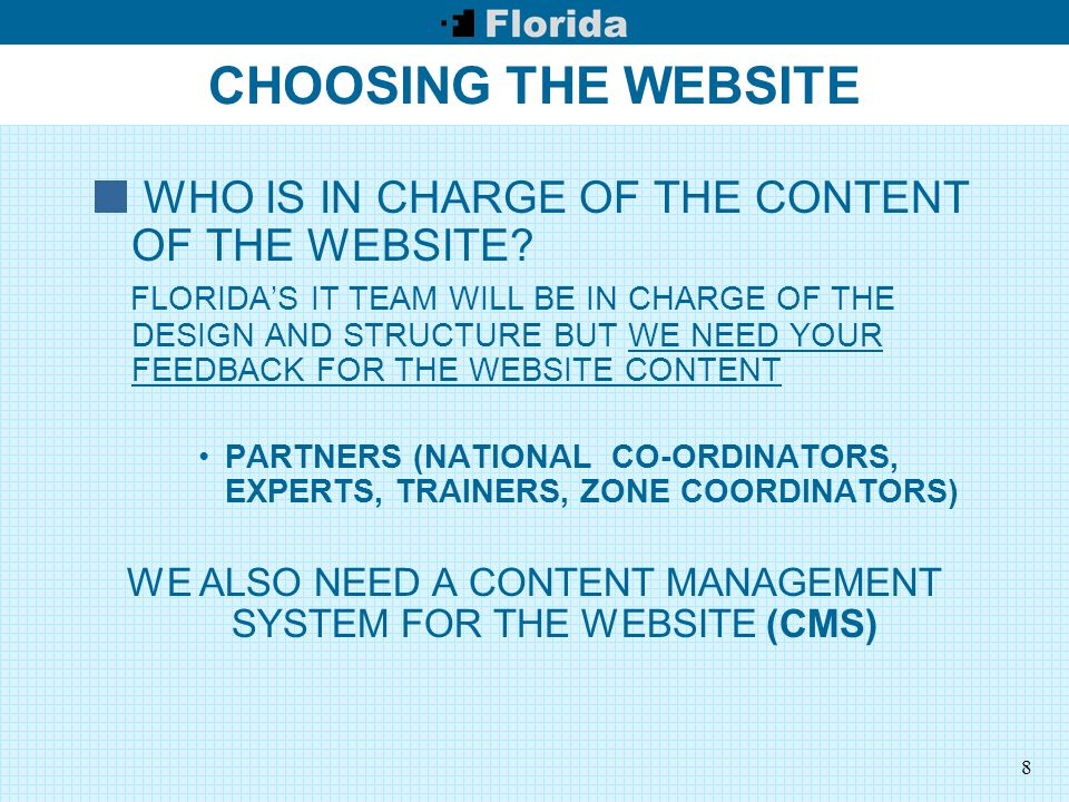 9 CHOOSING THE WEBSITE THE CMS WE WILL BE A COMMUNITY THEN WE NEED A COMMUNITY FREE SOFTWARE /OPEN SOURCE: THERE IS A WIDE RANGE OF FREE CMS SOFTWARE WE WILL USE JOOMLA