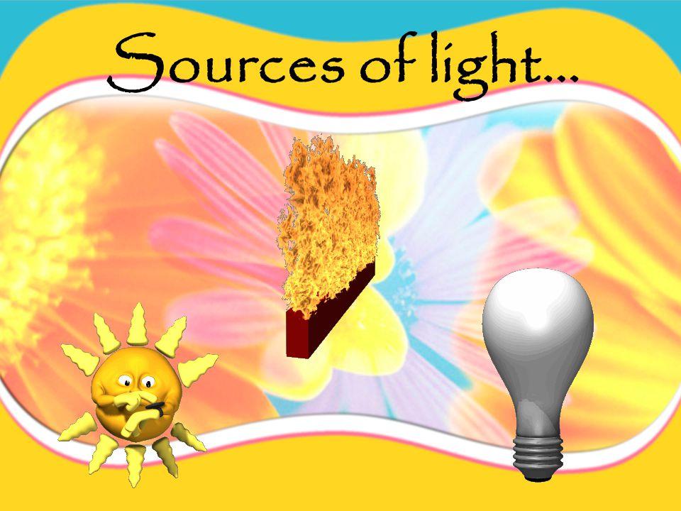 A light source produces light.